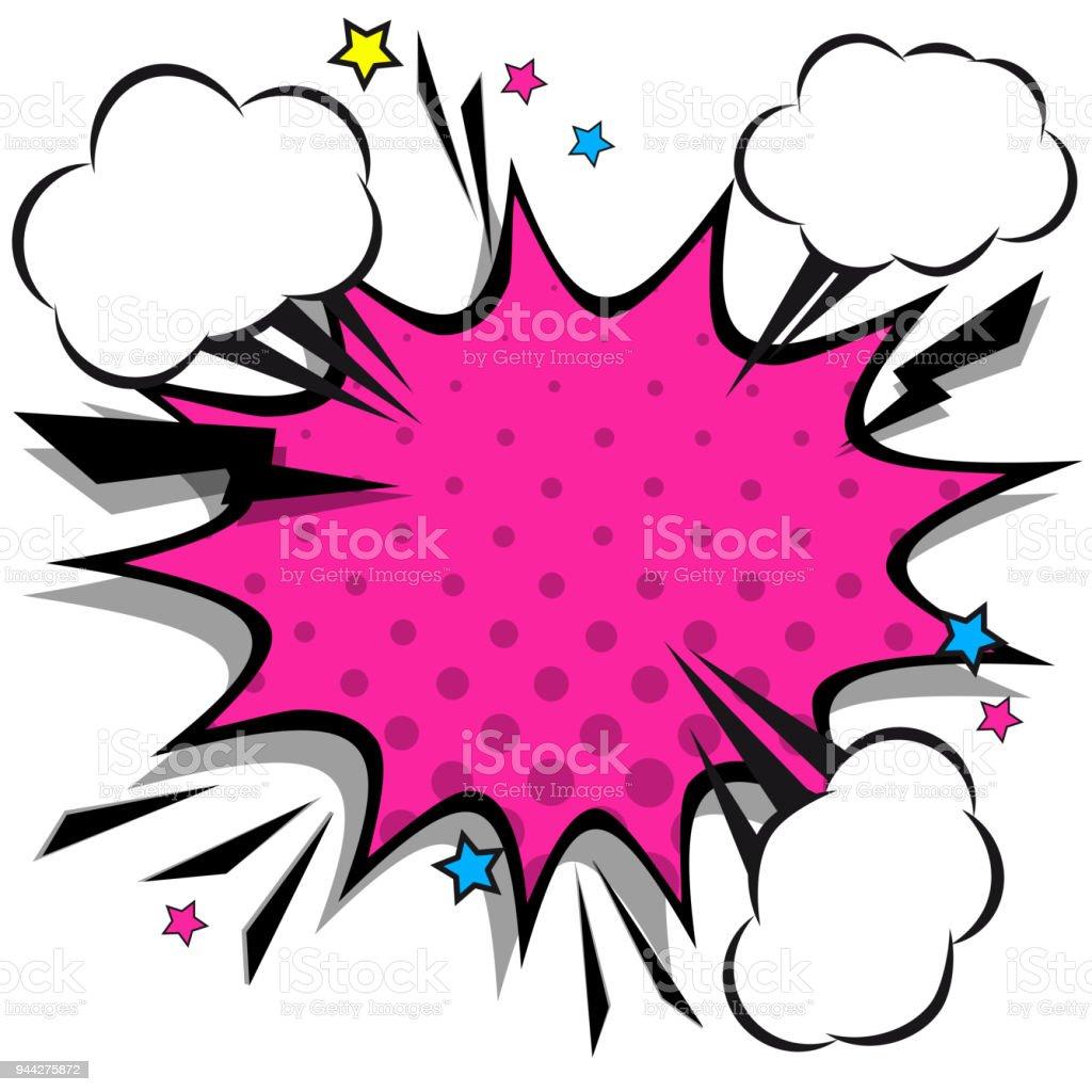 Retro comic design speech bubbles. Flash explosion with clouds, lightning, stars. Pop art vector elements. vector art illustration