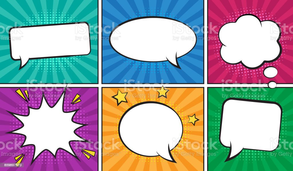 Retro comic empty speech bubbles set on colorful background. vector art illustration