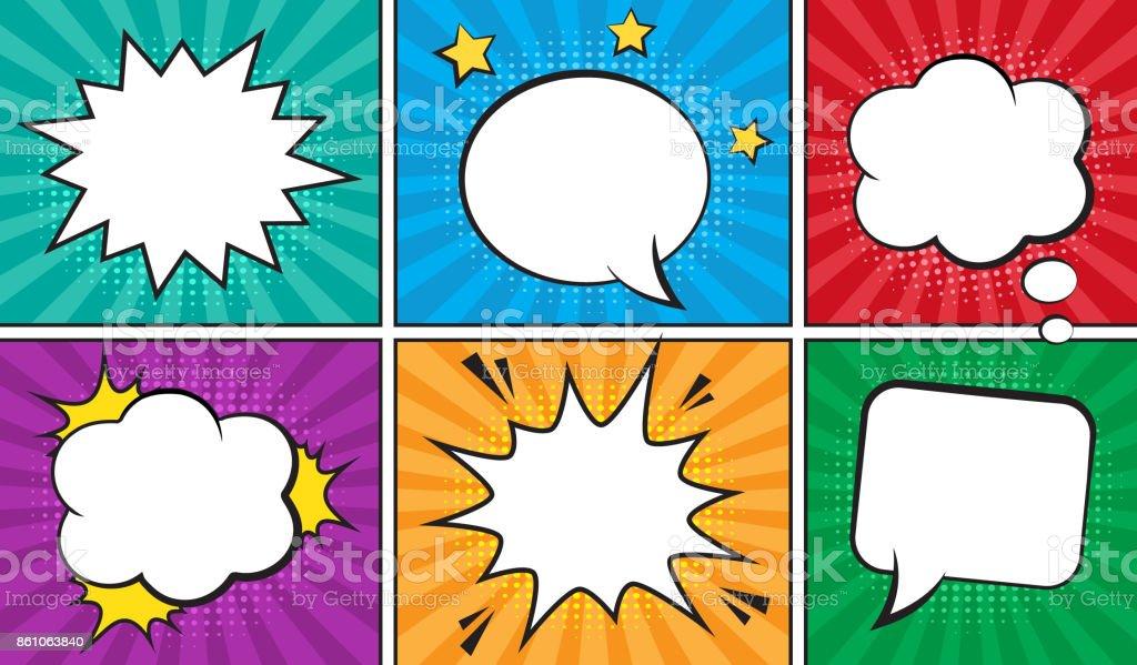 Retro comic empty speech bubbles set on colorful background.