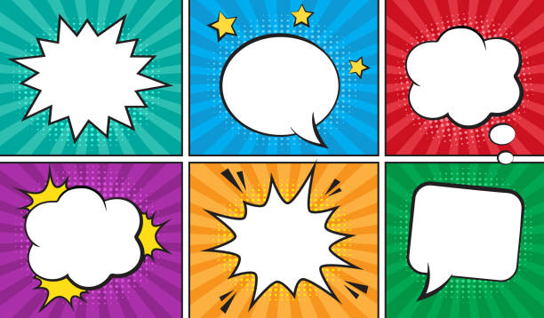 retro comic empty speech bubbles set on colorful background. - журнал комиксов stock illustrations