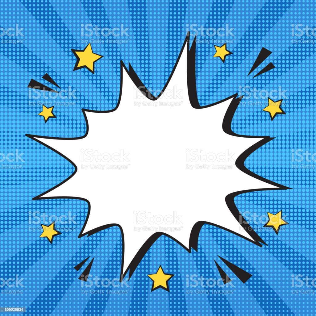 Expresión de comic retro vaciar bocadillo de diálogo con las estrellas sobre fondo de rayas azul colorido semitono. - ilustración de arte vectorial