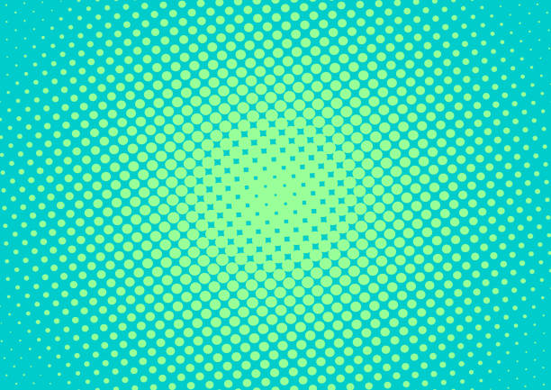 Retro comic green turquoise pop art background with gradient halftone dots design, vector illustration eps10 Retro comic green turquoise pop art background with gradient halftone dots design, vector illustration eps10 kitsch stock illustrations