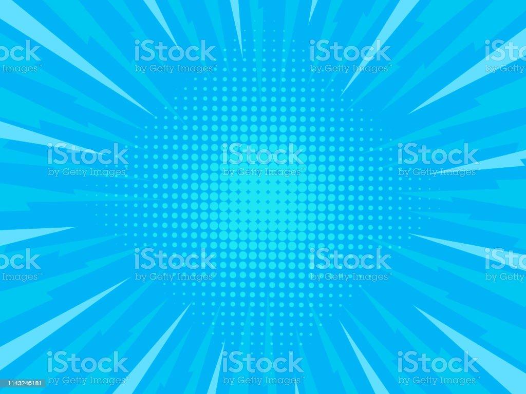 Retro comic rays blue background. Vector illustration in pop art...