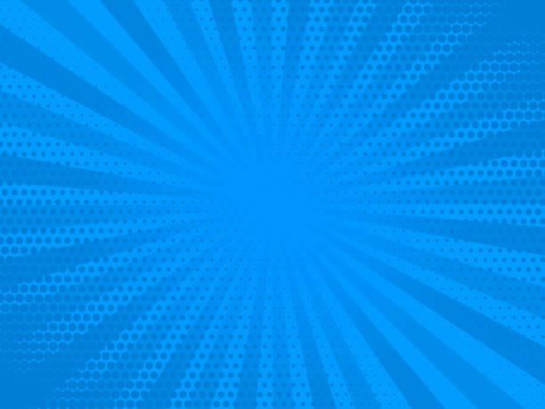ilustrações de stock, clip art, desenhos animados e ícones de retro comic rays blue dots background. vector illustration in pop art retro style - super hero