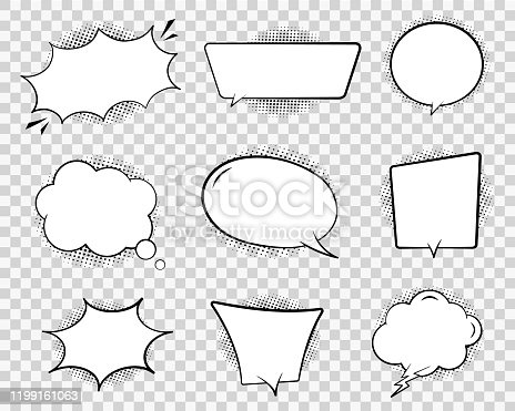 Retro comic speech bubble. Chat cloud for text on transparent background. Vintage empty speech bubble with dots. Cartoon think balloon for message. Comic dialog sketch illustration. Design vector
