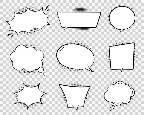 retro comic speech bubble. chat cloud for text on transparent background. vintage empty speech bubble with dots. cartoon think balloon of message. comic dialog sketch illustration. design vector - comedian stock illustrations