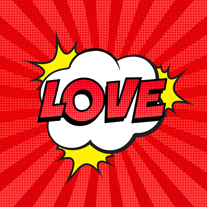 Retro comic speech bubble with LOVE expression text on colorful halftone red striped background.