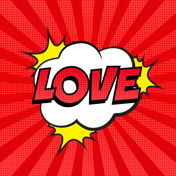 retro comic speech bubble with love expression text on colorful halftone red striped background. - kiss stock illustrations