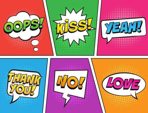 retro comic speech bubbles set on colorful background. expression text kiss, thank you, no, yeah, oops, love. - kiss stock illustrations