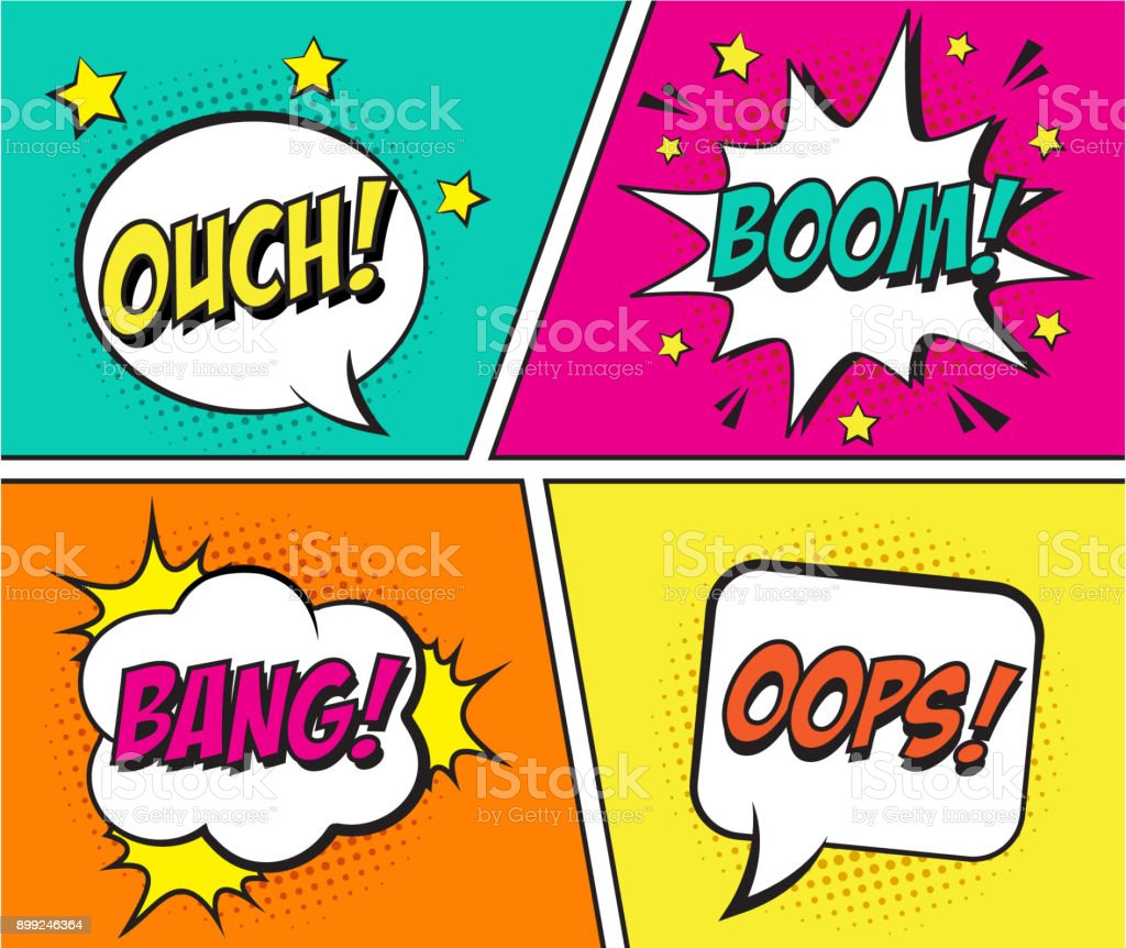 Retro comic speech bubbles set on colorful background. Expression text OUCH, BOOM, BANG, OOPS. vector art illustration