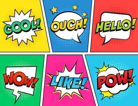 Retro comic speech bubbles set on colorful background. Expression text OUCH, COOL, LIKE, HELLO, WOW, POW.