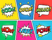 Vector illustration, vintage comic book design, pop art comic bubbles style.
