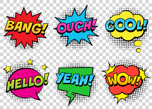 Retro comic speech bubbles set on transparent background. Expression text BANG, COOL, OUCH, HELLO, YEAH, WOW. clipart