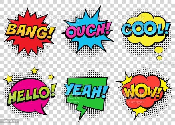 Retro comic speech bubbles set on transparent background expression vector id985276530?b=1&k=6&m=985276530&s=612x612&h=zbueqznzrjg4mlqdwc nprenaj bwxjuehi5oczilk0=