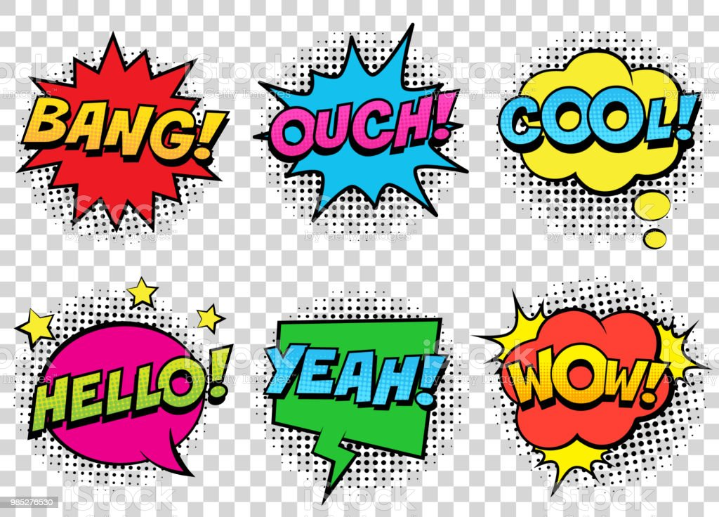Retro comic speech bubbles set on transparent background. Expression text BANG, COOL, OUCH, HELLO, YEAH, WOW. vector art illustration