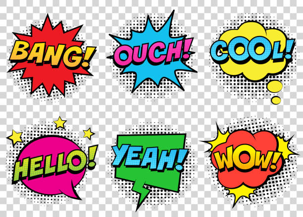 retro comic speech bubbles set on transparent background. expression text bang, cool, ouch, hello, yeah, wow. - журнал комиксов stock illustrations