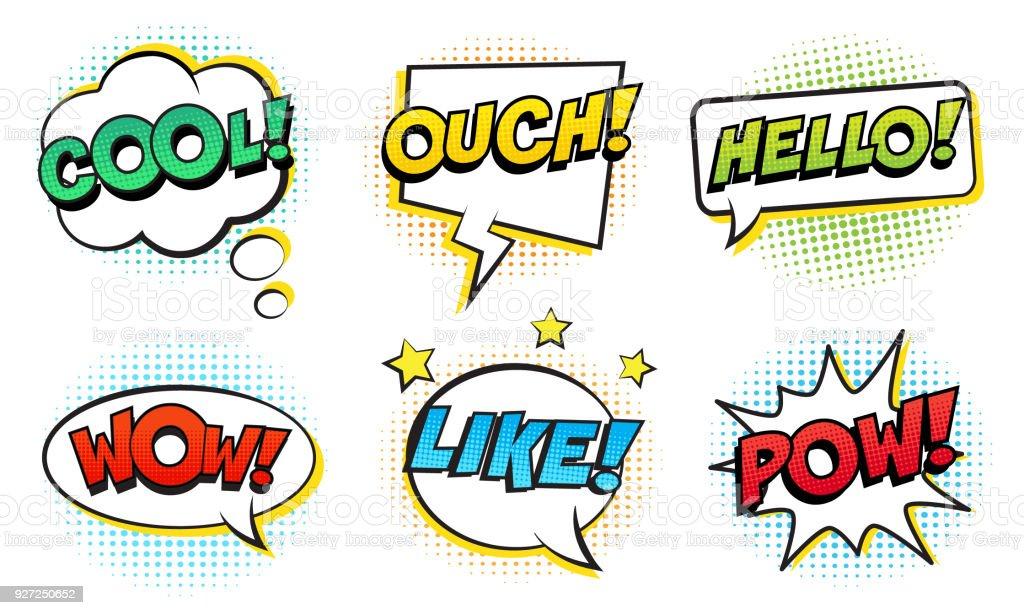 Retro Comic Speech Bubbles Set On White Background Expression Text