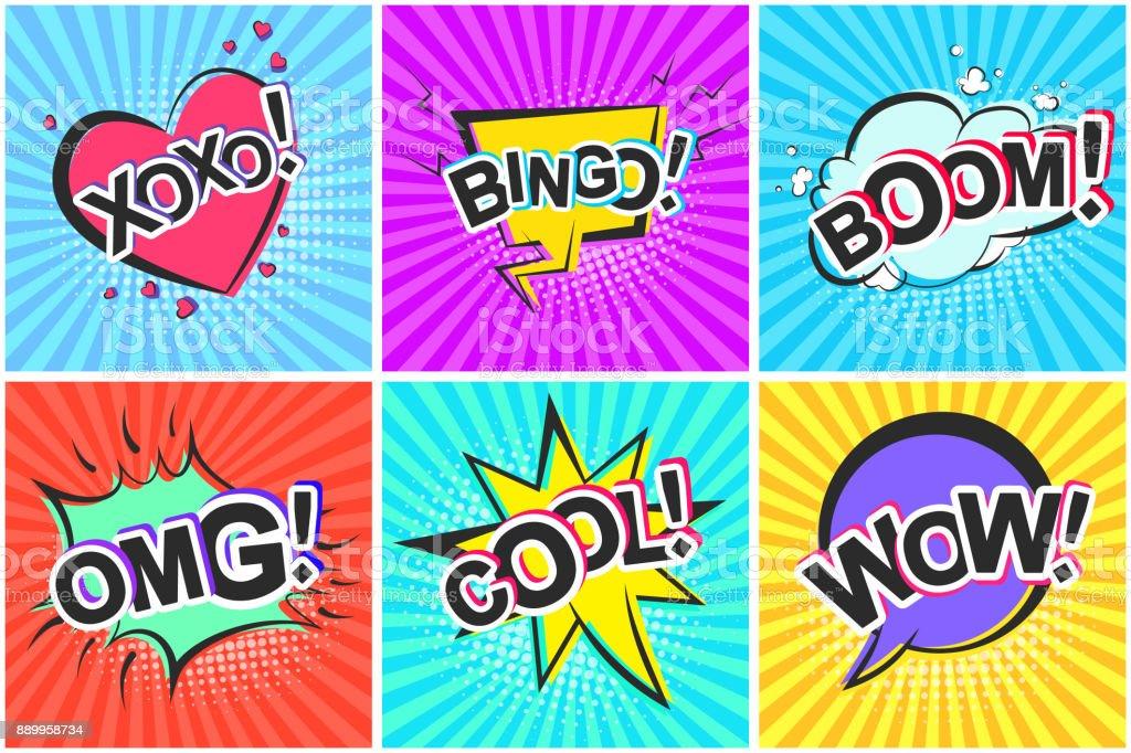 Retro Comic-Sprechblasen mit Boom Omg Wow cool – Vektorgrafik