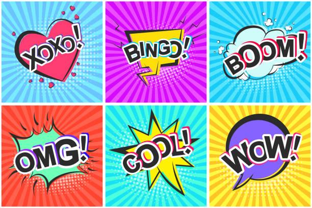 retro comic-sprechblasen mit boom omg wow cool - verwirrtes emoji stock-grafiken, -clipart, -cartoons und -symbole