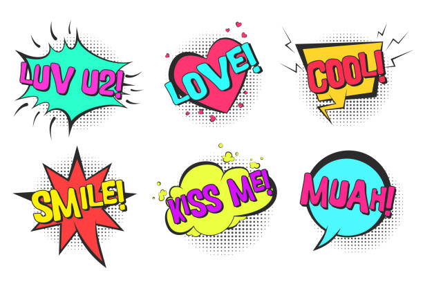 retro comic speech bubbles with cool, kiss me, love - kiss stock illustrations