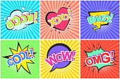 Bright contrast retro comic speech bubbles set with colorful Bingo, Boom, Xoxo, Cool, Omg, Wow words. Black outline balloons with halftone shadow and stripes in pop art style for advertisement, label
