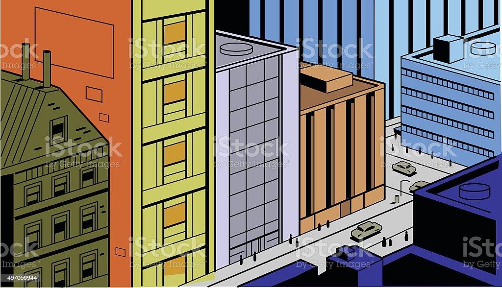 Retro Comics City Street Scene vector art illustration