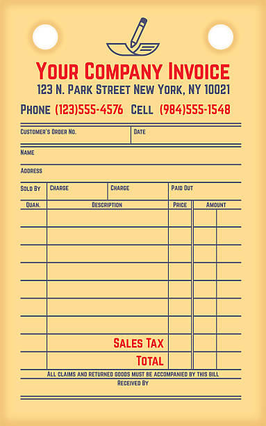 Retro Company Invoice Retro company invoice billing paper slip concept with space for your copy. EPS 10 file. Transparency effects used on highlight elements. receipt stock illustrations