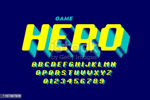 Retro computer game style font design, alphabet letters and numbers vector illustration