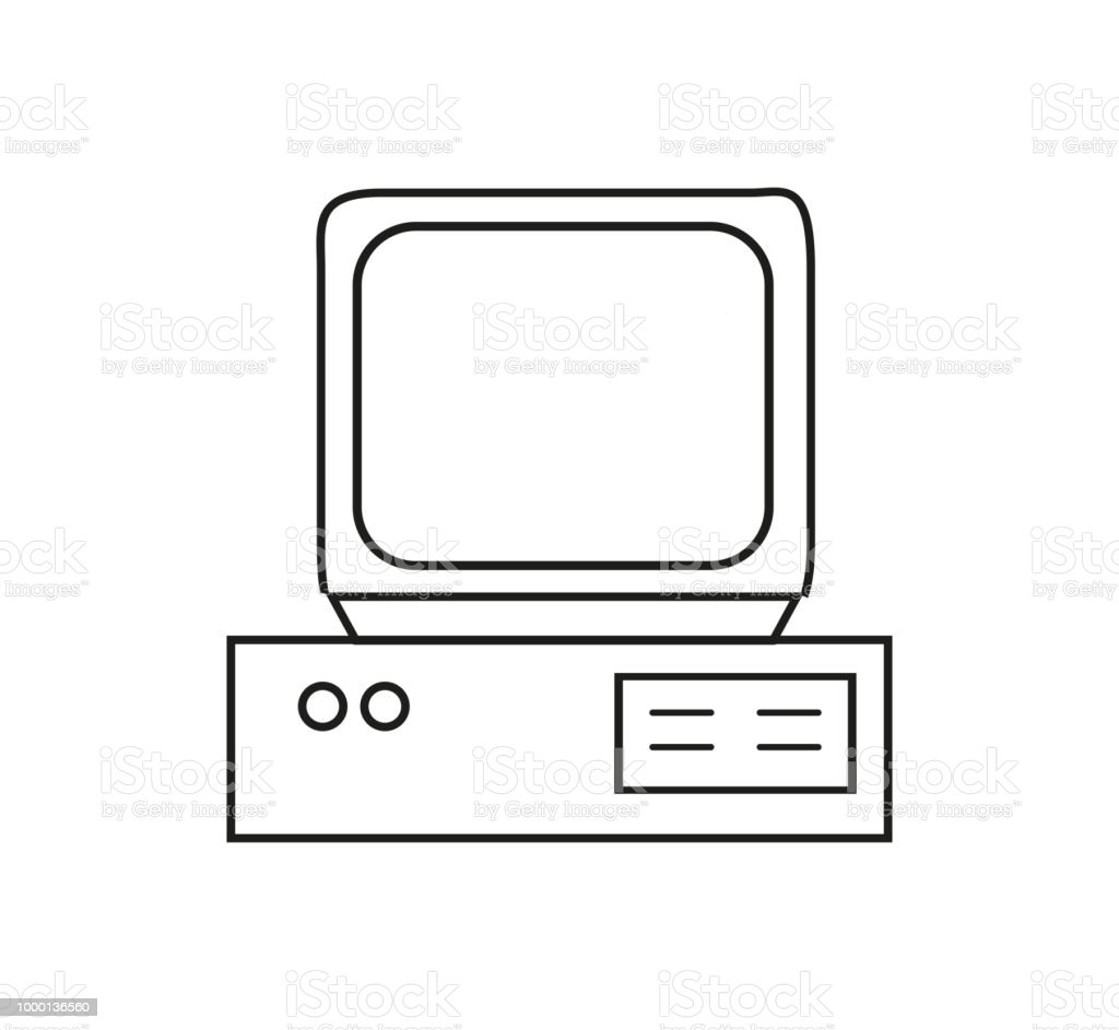 Retro Computer Icon In Contour Stock Vector Art & More Images of