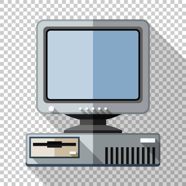 Retro-Computer mit CRT-Monitor-Ikone im flachen Stil mit langem Schatten auf transparentem Hintergrund – Vektorgrafik