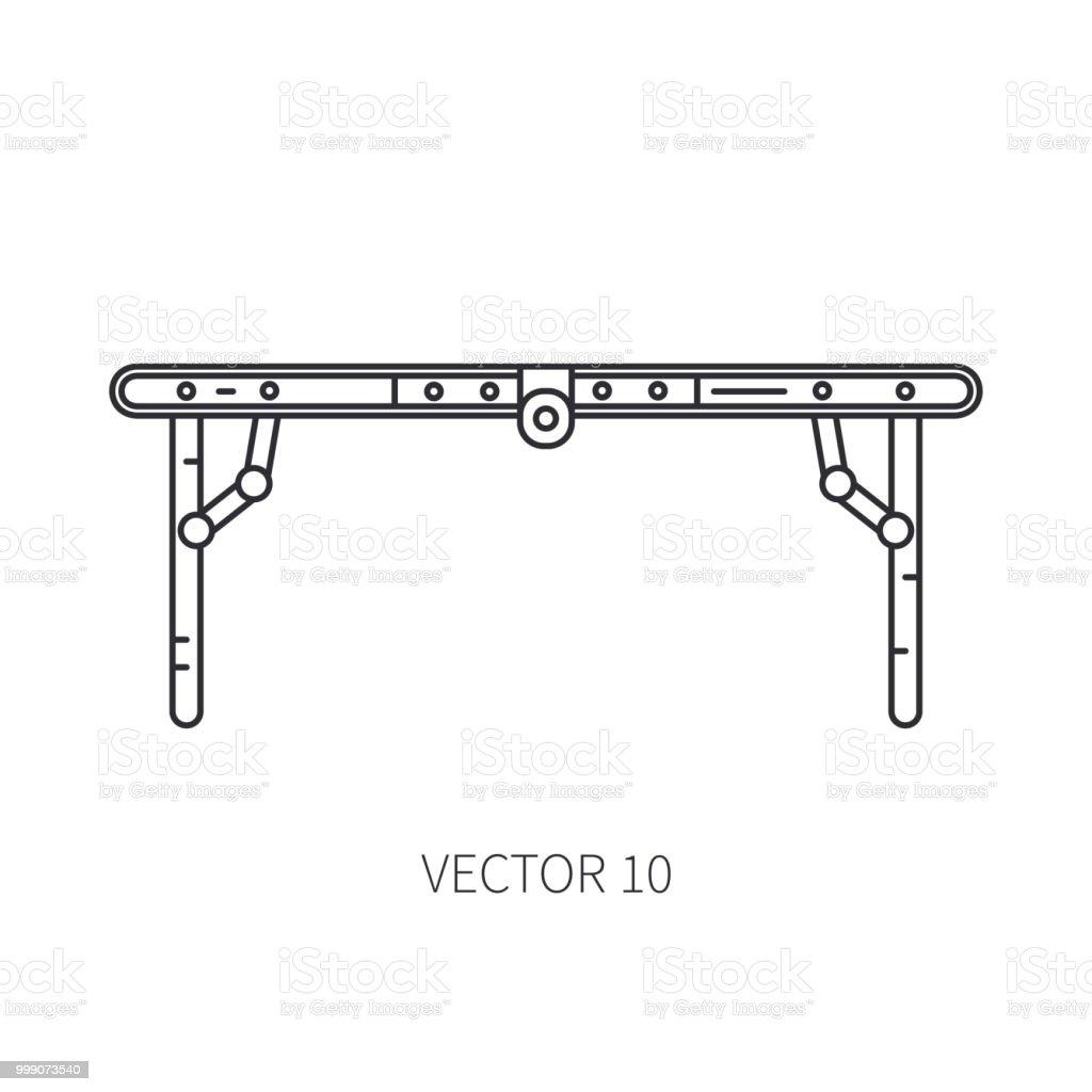 c9f564439 Retrô mobiliário conversível, ícone de mesa compacto vetor linha. Férias de  verão viagens,