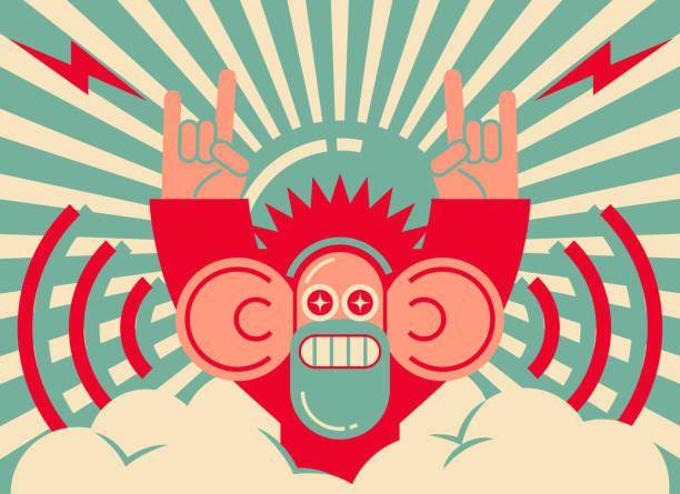 ilustrações de stock, clip art, desenhos animados e ícones de retro cool man showing horn sign and listening with big ear - músico popular