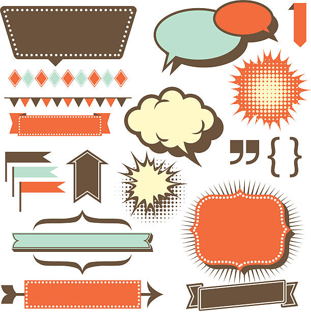retro copy space elements - 1950s style stock illustrations, clip art, cartoons, & icons