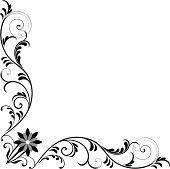 Vector corner frame with floral pattern.