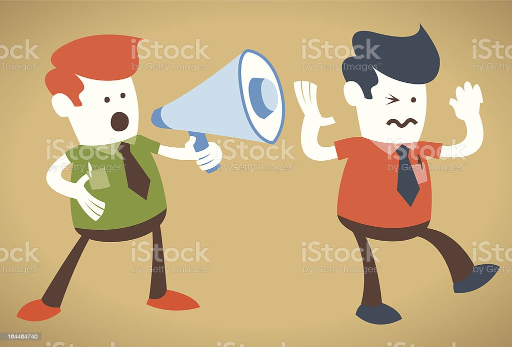 Retro Corporate Guy holding a megaphone is deafening. royalty-free stock vector art