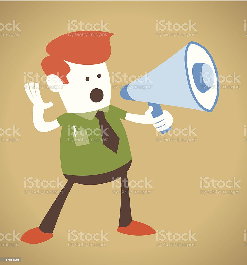 Retro Corporate Guy holding a megaphone. vector art illustration