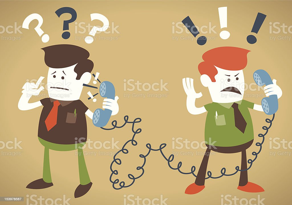 Retro Corporate Guys have a heated debate on the telephone. royalty-free stock vector art