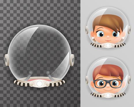Retro cosmonaut helmet realistic 3d astronaut spaceman boy girl tantamareska transperent class design vector illustration