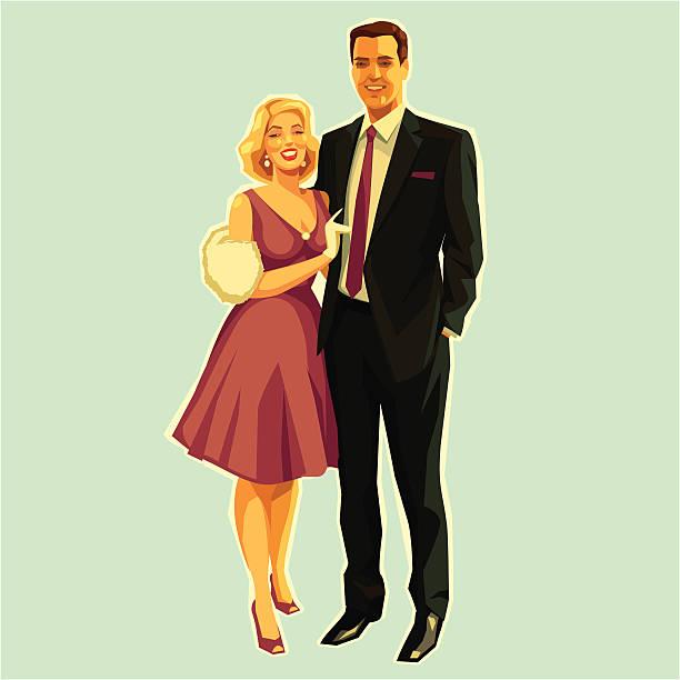 stockillustraties, clipart, cartoons en iconen met retro couple - echtgenote