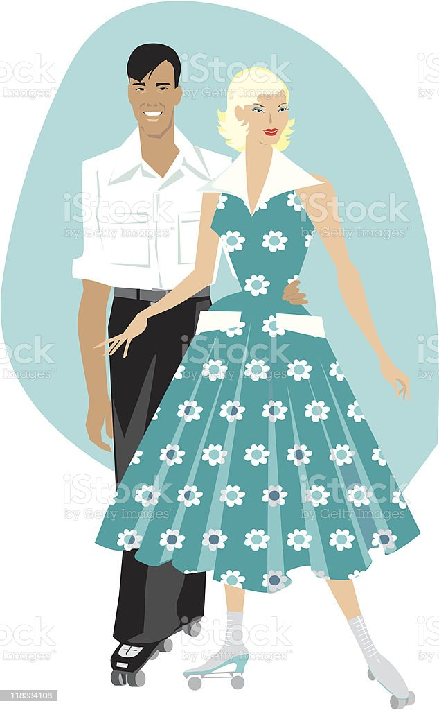 Retro couple with rollers vector art illustration