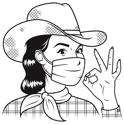 Retro Cowgirl Wearing Mask