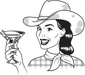 An vintage styled cowgirl holding a martini.