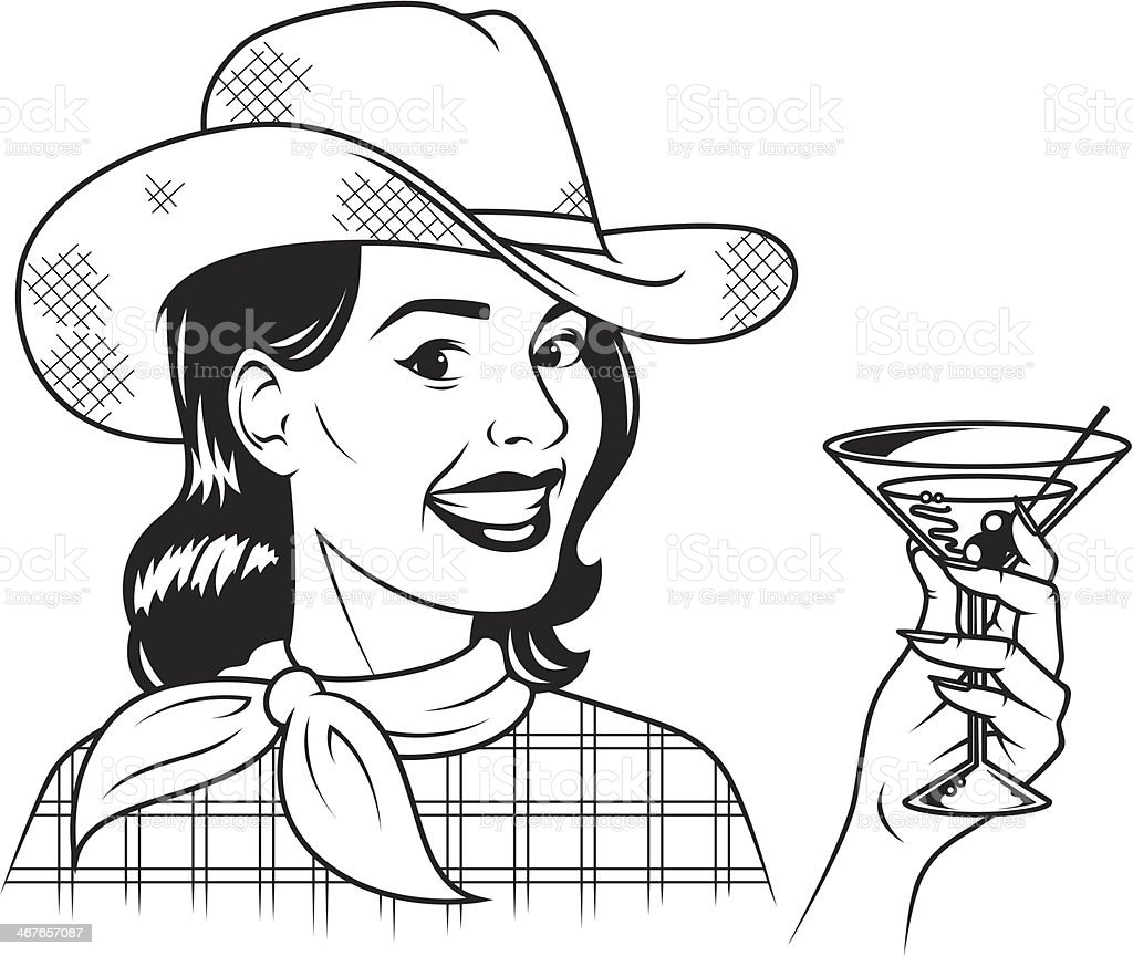 Retro Cowgirl With Martini royalty-free retro cowgirl with martini stock vector art & more images of adult