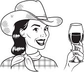 An vintage styled cowgirl holding a glass of red wine.