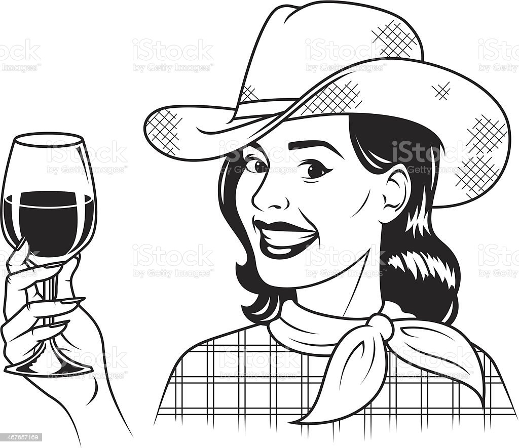 Retro Cowgirl With Wine royalty-free stock vector art