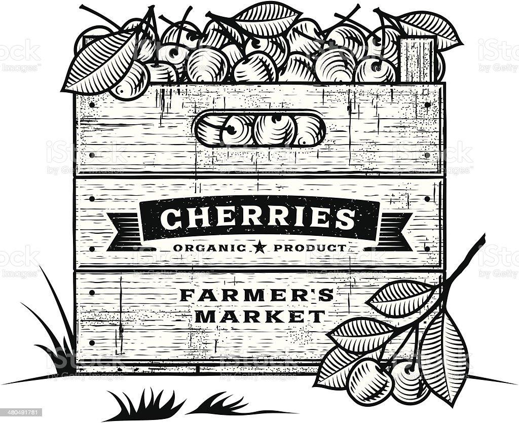 Retro crate of cherries black and white vector art illustration