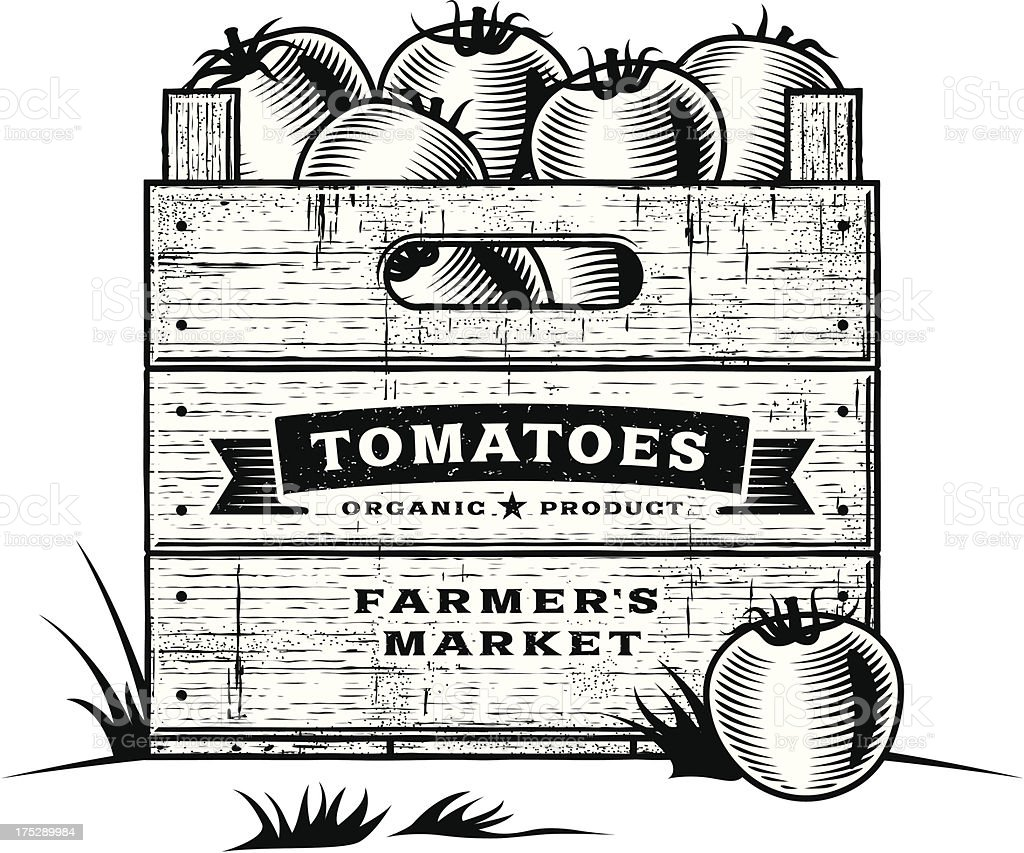 Retro crate of tomatoes black and white royalty-free stock vector art