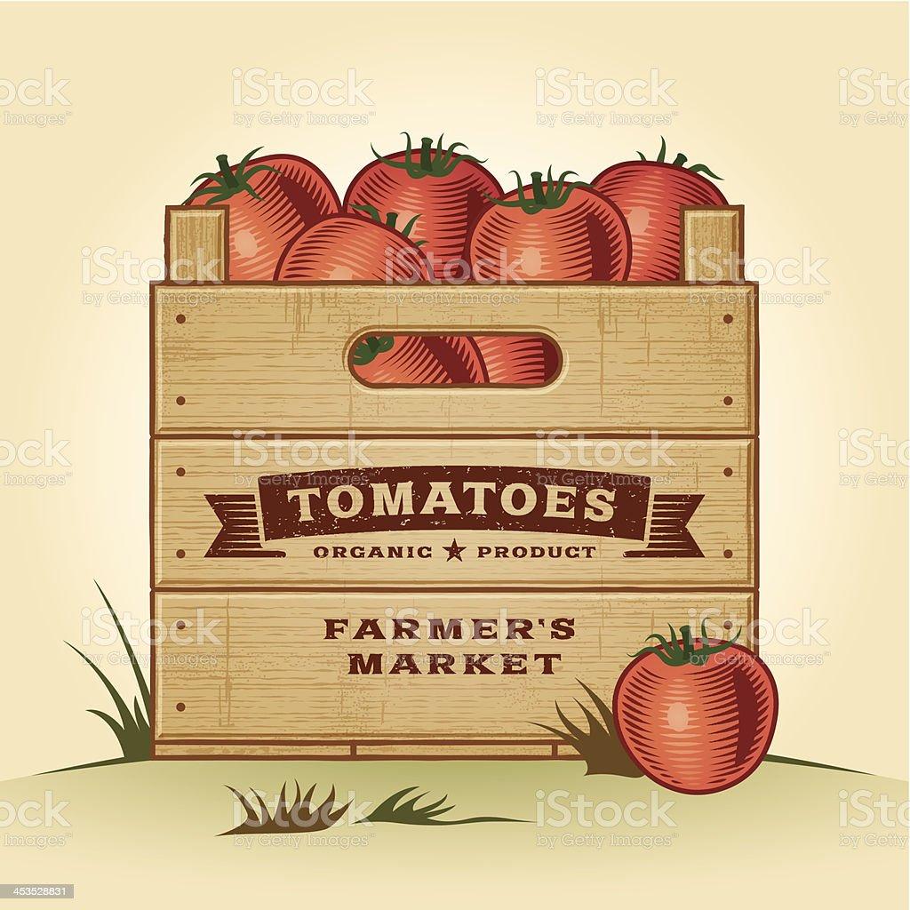 Retro crate of tomatoes vector art illustration