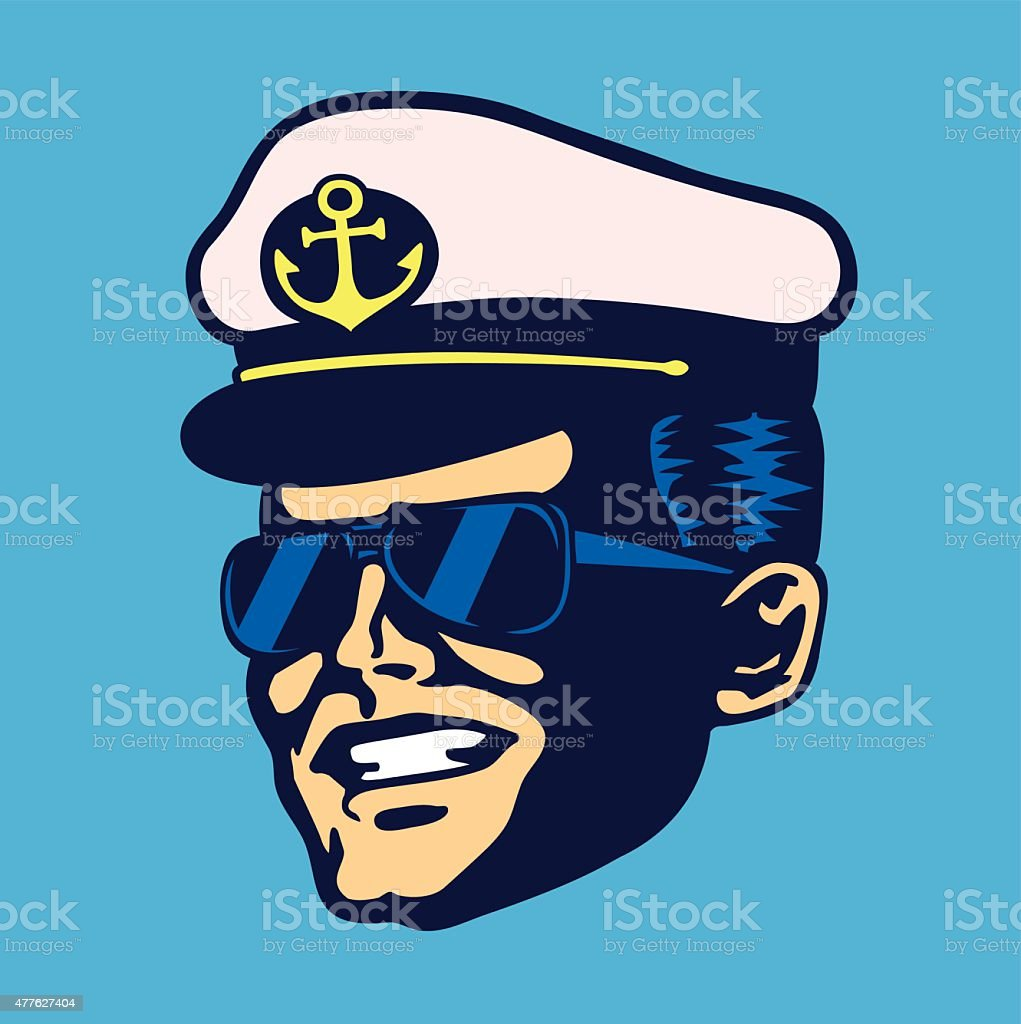 Retro cruise ship captain head with hat and sunglasses vector vector art illustration