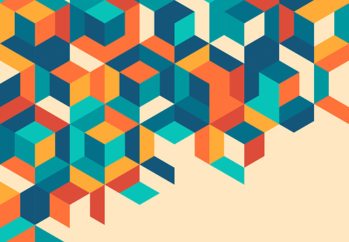 Retro Cube Abstract Background Pattern